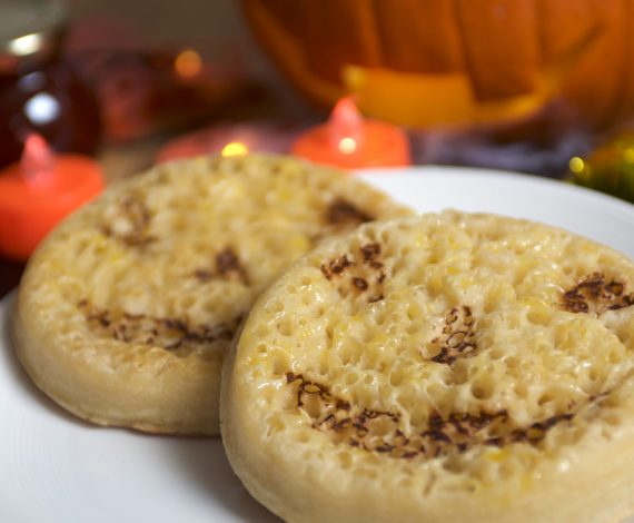 Halowe'en Pumpkin Crumpets