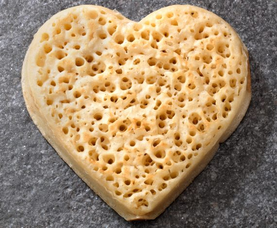 Heart shaped crumpets