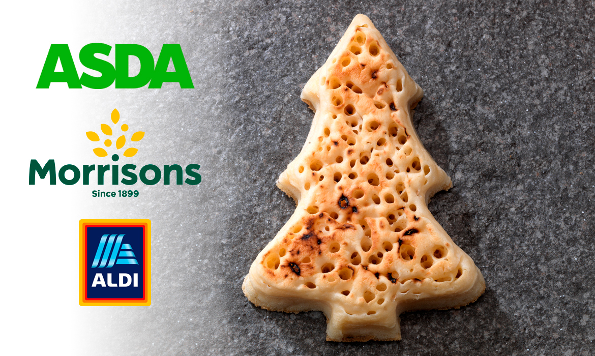 christmas tree crumpets available at asda morrisons and. Black Bedroom Furniture Sets. Home Design Ideas