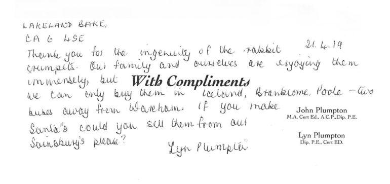 Lyn Plumpton letter
